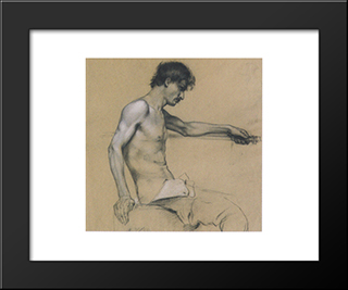 Male Nude Study: Modern Black Framed Art Print by Koloman Moser