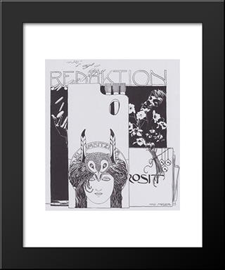 Happy Editing. Illustration With Self-Portrait.: Modern Black Framed Art Print by Koloman Moser