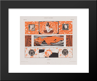 Head Strips: Modern Black Framed Art Print by Koloman Moser
