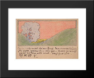 Landscape With Tree: Modern Black Framed Art Print by Koloman Moser