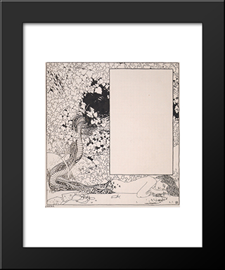 Mermaid. Illustration For Jugendschatz German Seals: Modern Black Framed Art Print by Koloman Moser