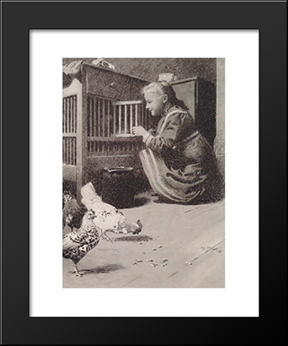 Girls In Henhouse: Modern Black Framed Art Print by Koloman Moser