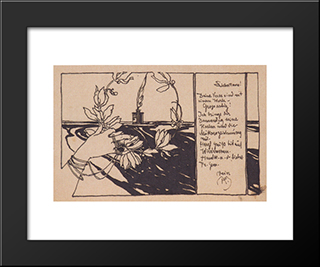 Laurel Wreath: Modern Black Framed Art Print by Koloman Moser