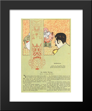 Matter Of Conscience. Humorous Illustration For Meggendorfers Leaves: Modern Black Framed Art Print by Koloman Moser