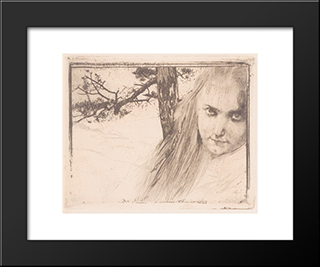 Girl In Landscape: Modern Black Framed Art Print by Koloman Moser