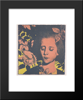 Girl In Rose: Modern Black Framed Art Print by Koloman Moser