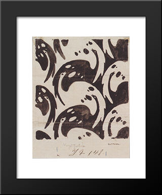 Fabric Design With Birds For Backhausen: Modern Black Framed Art Print by Koloman Moser