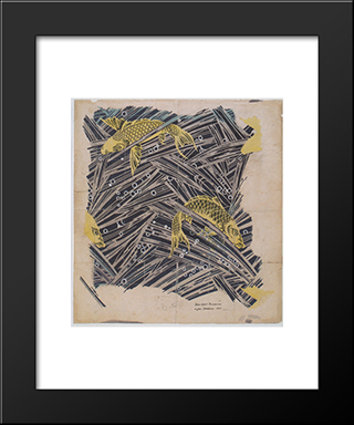 Fabric Design With Trout Dance For Backhausen: Modern Black Framed Art Print by Koloman Moser