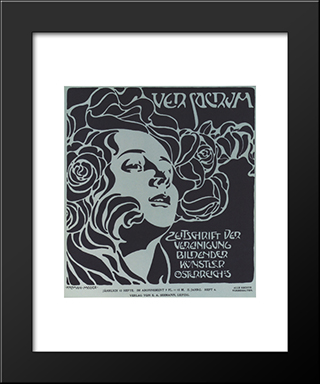 Girl'S Head. Cover Design Ver Sacrum, 204, 1899: Modern Black Framed Art Print by Koloman Moser