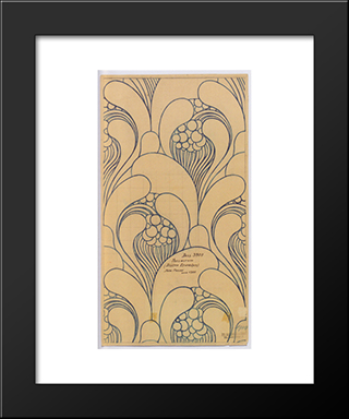Fabric Design With Floral Awakening For Backhausen: Modern Black Framed Art Print by Koloman Moser