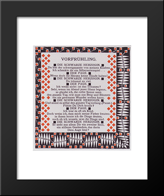Early Spring. Illustration To A Poem By Rainer Maria Rilke: Modern Black Framed Art Print by Koloman Moser