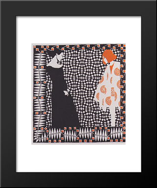 Early Spring. Illustration To A Poem By Rainer Maria Rilke.: Modern Black Framed Art Print by Koloman Moser