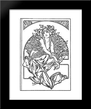Coverage For The Volume Of Grandmothers Songs: Modern Black Framed Art Print by Alphonse Mucha