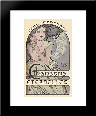 Cover For The Book'S Timeless Songs Of Paul Redonnel: Modern Black Framed Art Print by Alphonse Mucha