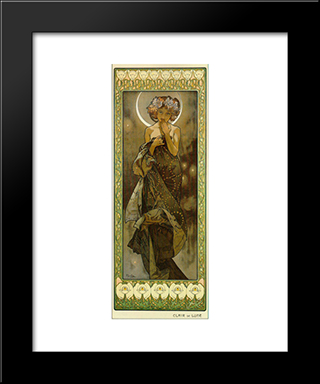 Evening Star: Modern Black Framed Art Print by Alphonse Mucha