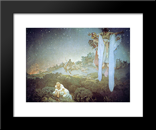Untitled: Modern Black Framed Art Print by Alphonse Mucha