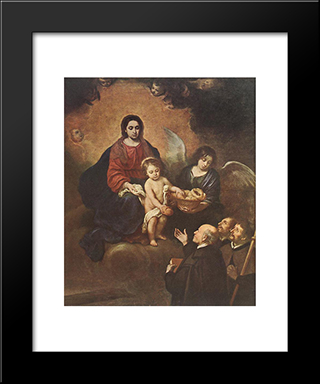 The Infant Jesus Distributing Bread To Pilgrims: Modern Black Framed Art Print by Bartolome Esteban Murillo