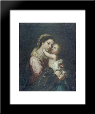 The Virgin And Infant Jesus: Modern Black Framed Art Print by Bartolome Esteban Murillo