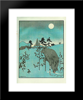 Illustration To 'The Crane And Heron. Bear.': Modern Black Framed Art Print by Heorhiy Narbut
