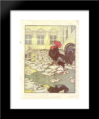 Illustration For The Book 'How Mice Buried The Cat' By Zhukovsky: Modern Black Framed Art Print by Heorhiy Narbut