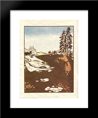Illustration. 'Fairy Tales: Teremok. Mizgir'.: Modern Black Framed Art Print by Heorhiy Narbut