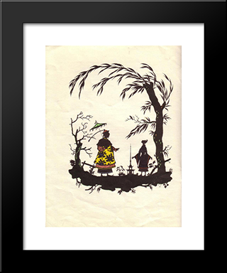 Illustration To 'Nightingale' By Hans Christian Andersen: Modern Black Framed Art Print by Heorhiy Narbut