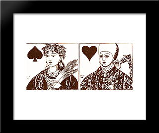 Playing Cards: Modern Black Framed Art Print by Heorhiy Narbut
