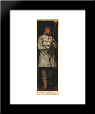 Young Man With Candle: Modern Black Framed Art Print by Mikhail Nesterov