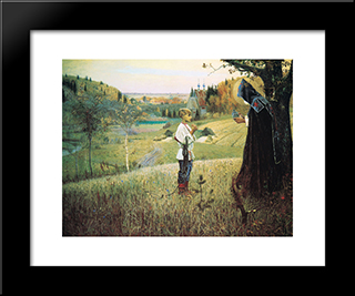 The Vision Of The Young Bartholomew: Modern Black Framed Art Print by Mikhail Nesterov