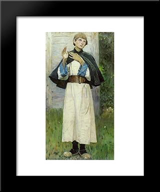 Youth Of St. Sergius: Modern Black Framed Art Print by Mikhail Nesterov