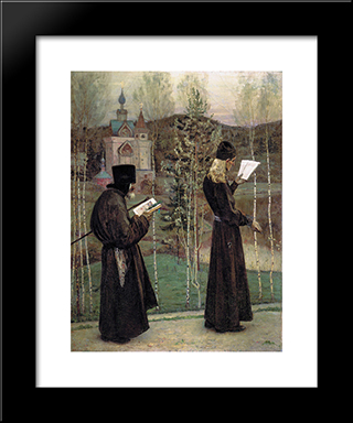 To Blagovest: Modern Black Framed Art Print by Mikhail Nesterov