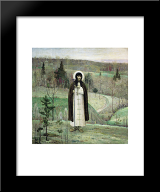 Venerable Sergius Of Radonezh: Modern Black Framed Art Print by Mikhail Nesterov
