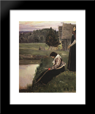 Thought: Modern Black Framed Art Print by Mikhail Nesterov