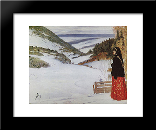 Winter In Skit: Modern Black Framed Art Print by Mikhail Nesterov