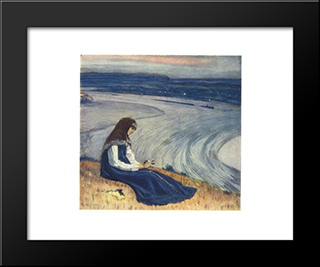 By Volga: Modern Black Framed Art Print by Mikhail Nesterov