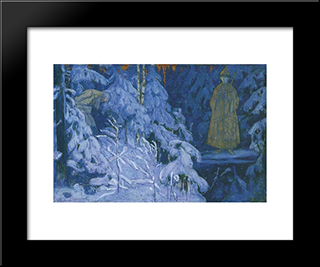 The Vision To Ivan Susanin Michael'S Image: Modern Black Framed Art Print by Mikhail Nesterov
