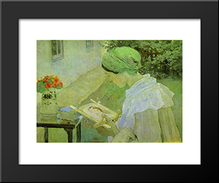 Portrait Of Ekaterina Nesterova: Modern Black Framed Art Print by Mikhail Nesterov