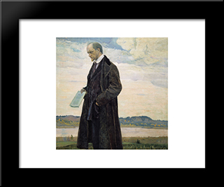 Thinker (Portrait Of Philisopher Ivan Ilyin): Modern Black Framed Art Print by Mikhail Nesterov