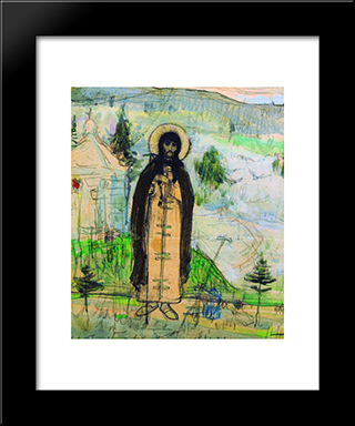 Venerable Sergius Of Radonezh (Sketch): Modern Black Framed Art Print by Mikhail Nesterov