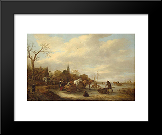 Winter Landscape: Modern Black Framed Art Print by Isaac van Ostade