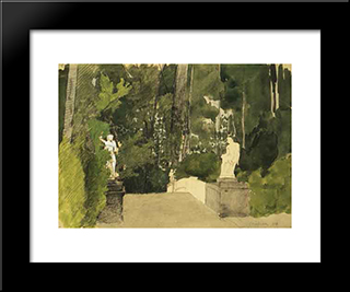 Petersburg. Bridge With Centaurs.: Modern Black Framed Art Print by Anna Ostroumova Lebedeva