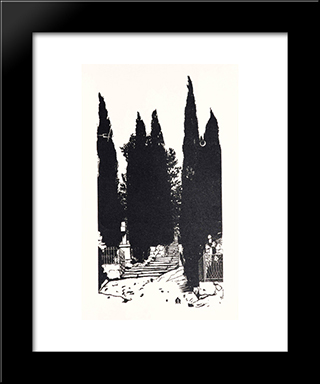 Cypress Trees: Modern Black Framed Art Print by Anna Ostroumova Lebedeva