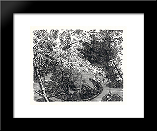 In The Park: Modern Black Framed Art Print by Anna Ostroumova Lebedeva