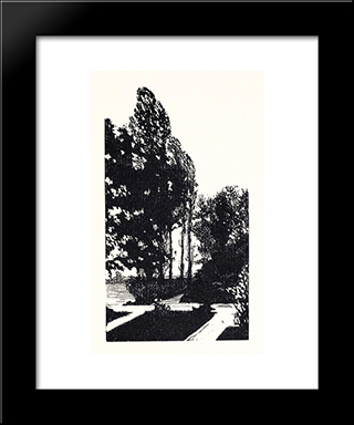In The Park. Poplar Trees.: Modern Black Framed Art Print by Anna Ostroumova Lebedeva