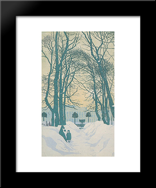 Petersburg. The Summer Garden In Winter.: Modern Black Framed Art Print by Anna Ostroumova Lebedeva