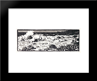Sea. Stones.: Modern Black Framed Art Print by Anna Ostroumova Lebedeva