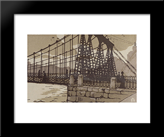 Chain Bridge In St. Petersburg: Modern Black Framed Art Print by Anna Ostroumova Lebedeva