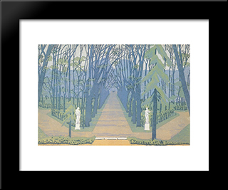 Alley In Tsarskoe Selo: Modern Black Framed Art Print by Anna Ostroumova Lebedeva