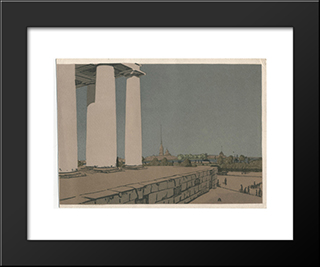 Colonnade Of Exchange And Peter And Paul Fortress: Modern Black Framed Art Print by Anna Ostroumova Lebedeva
