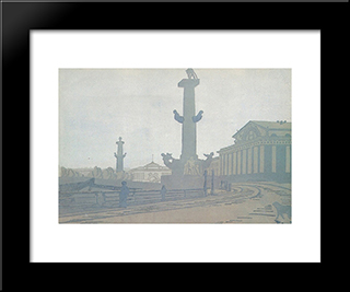 Petersburg. Rostral Column And Exchange.: Modern Black Framed Art Print by Anna Ostroumova Lebedeva
